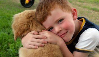 Un chien et un enfant